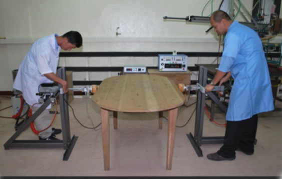 The Furniture Testing Center of DOST-FPRDI is equipped with modern furniture testing machines, including a horizontal fatigue and stability test machine (shown in the photo) that evaluates the strength, durability and stability of tables when horizontal force is applied continuously.